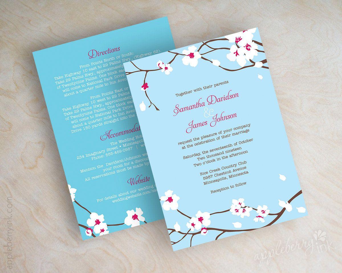 Wedding invitation cherry tree blossom wedding by appleberryink ...