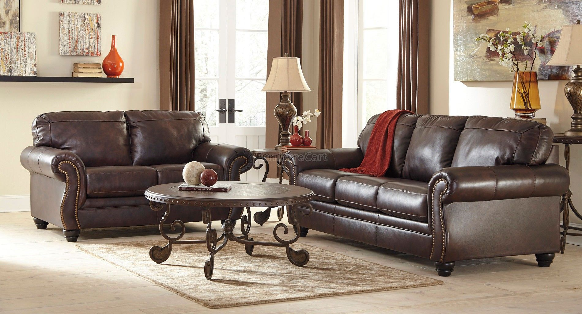 Bristan Walnut Living Room Set Queen Sofa Sleeper