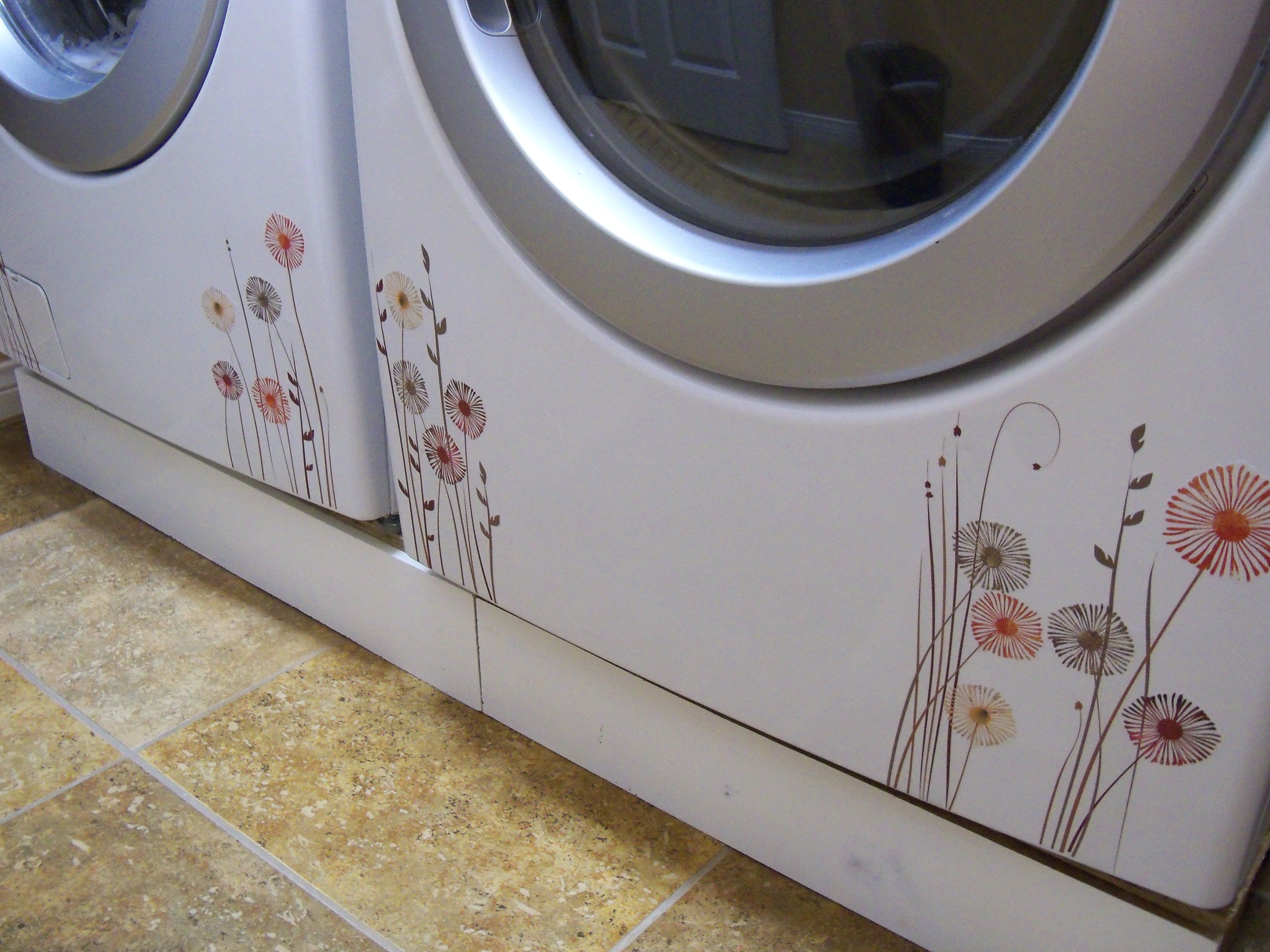 Decorating the washer/dryer  Rub on transfers from Michaels