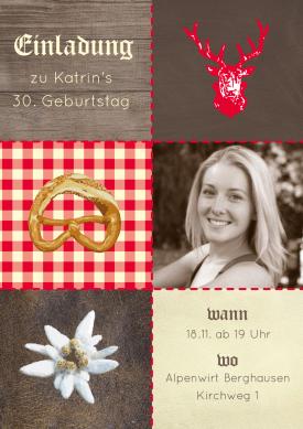 Einladungskarte Geburtstag Einladung Oktoberfest Motto Party Fotokarte Karte