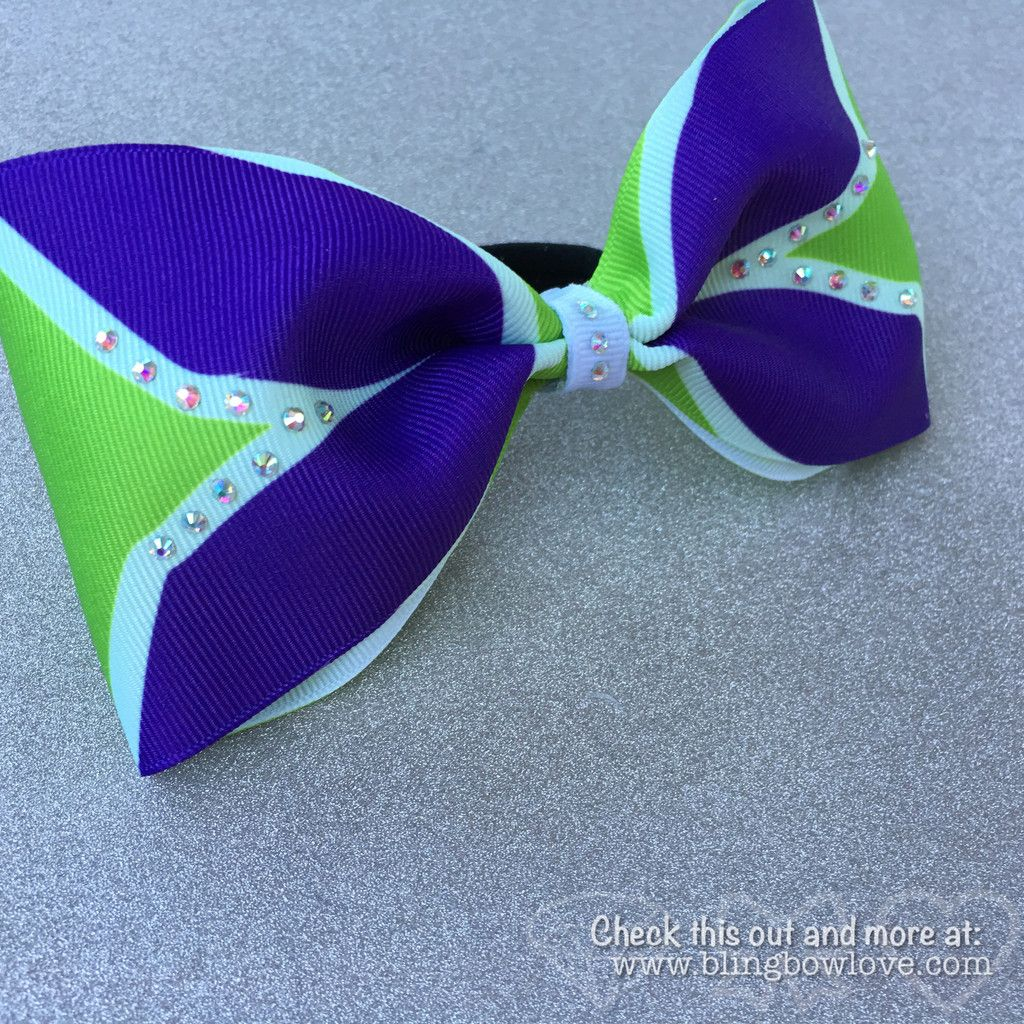 Cheer bow holder for cheer bows and hair bows cheer bow hanger - Tailless Purple And Green Cheer Bow