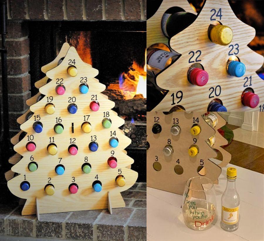 This Christmas Tree Advent Calendar Holds Mini Bottles Of Wine Wine Advent Calendar Christmas Tree Advent Calendar Diy Advent Calendar