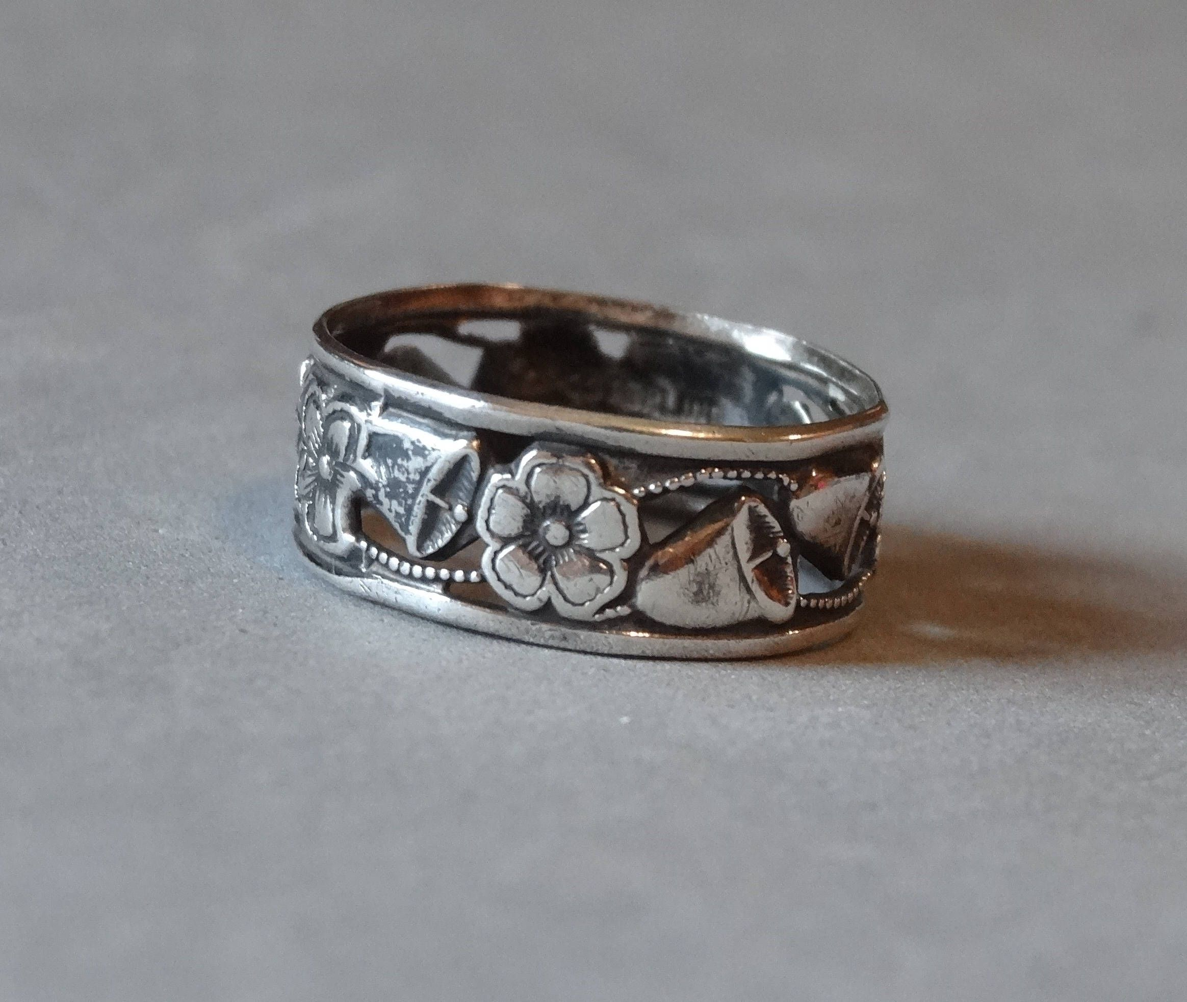 Antique Wedding Ring Band Sterling Silver Art Nouveau Forget Me Not Flowers Bells Hand Cut Jewelry Size 675 Marked: Silver Bells Wedding Ring At Websimilar.org