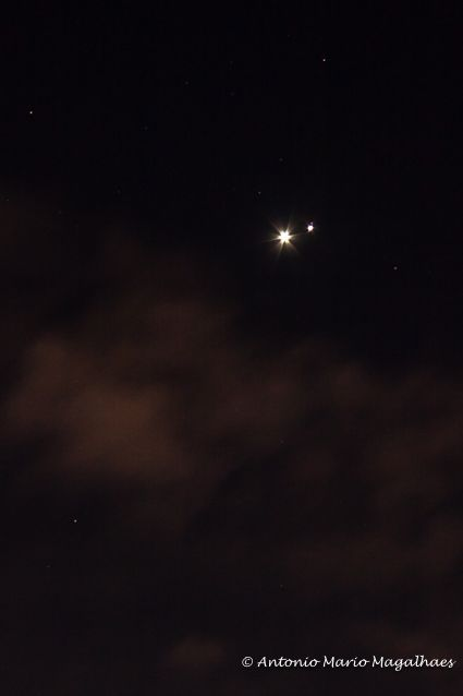 A close-up of the Venus-Jupiter conjunction on June 30th
