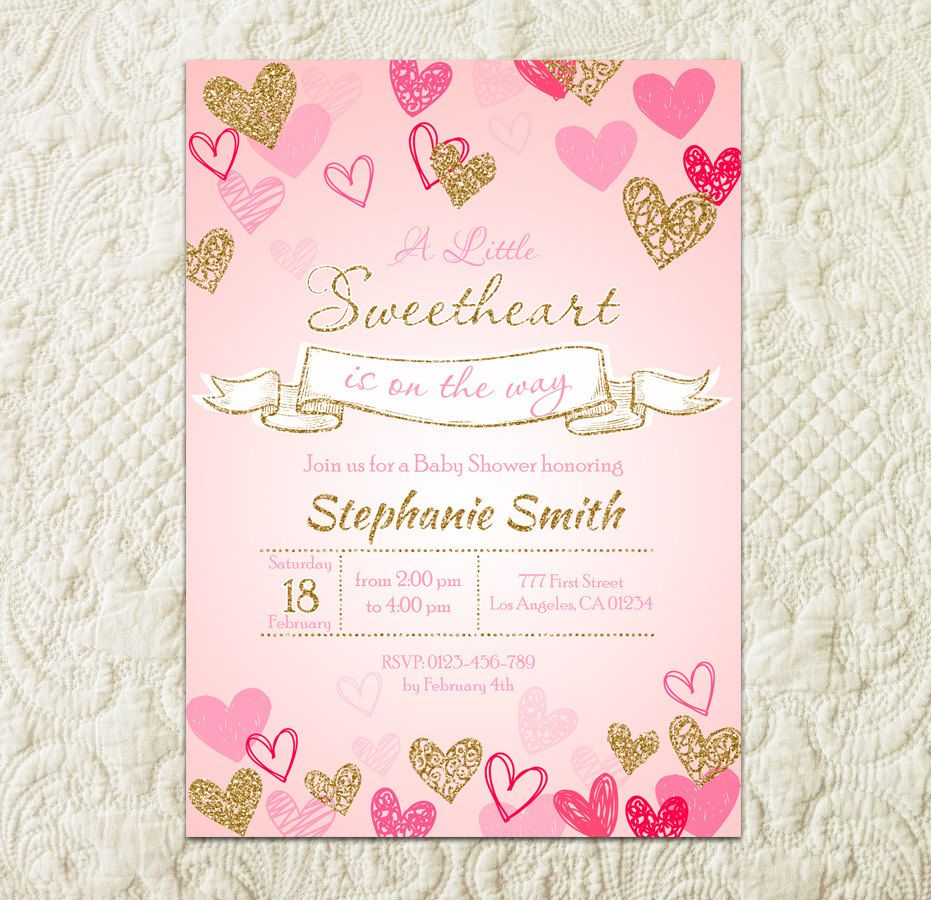 Sweetheart Baby Shower Invitation, Little Sweetheart Pink Gold ...