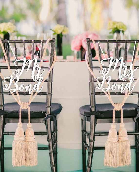 Sale Mr Mrs Bond Chair Signs Wood Wedding Reception Chair Signs Set