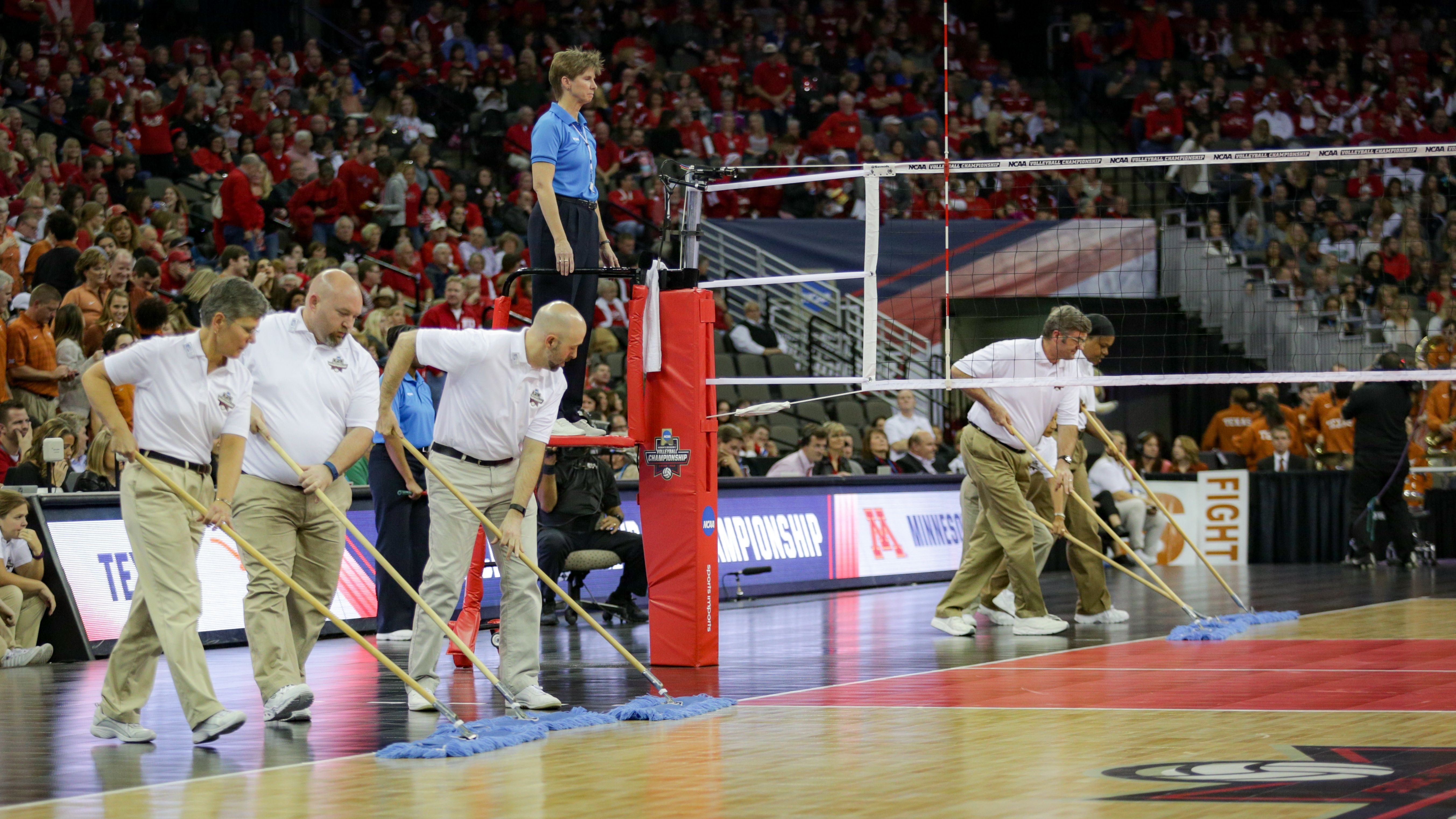 Professional Court Sweepers At The Ncaa Volleyball Championship In Omaha Nebraska Volleyball Ncaavb Volleyball Ncaa Sports