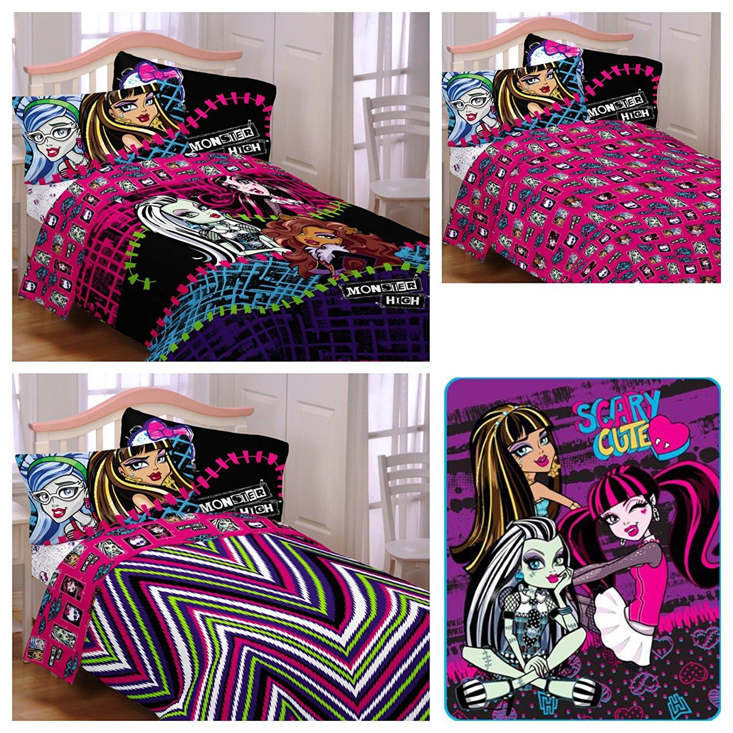Mattel Monster High Reversible Comforter Sheets Pillow Case Plush Blanket 5 Piece Bed