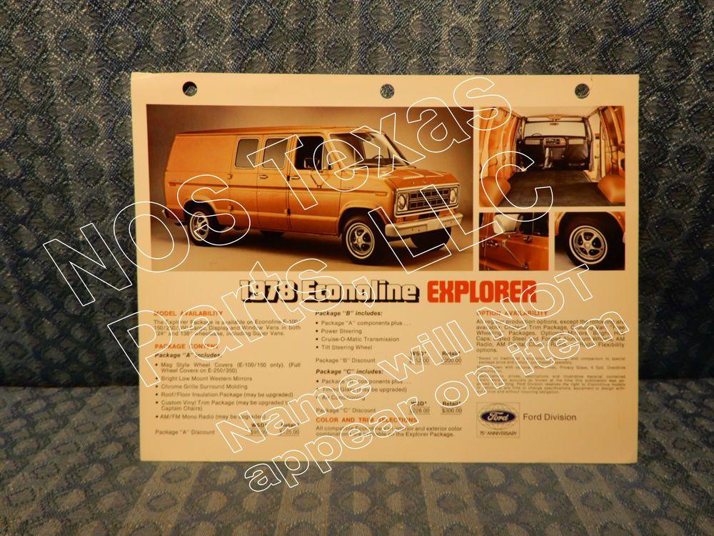 1978 Ford Econoline Explorer Van Original Dealer Sales Card Ford Vans Original Ford Cards