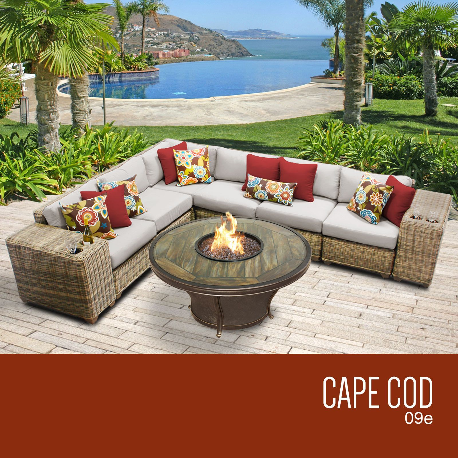 Cape Cod 9 Piece Outdoor Wicker Patio Furniture Set 09e