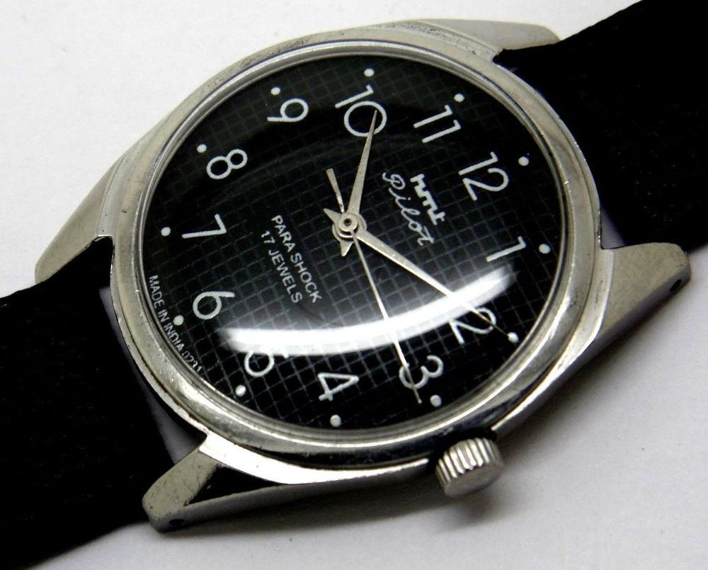 Hmt pilot hand winding gents steel black dial vintage india