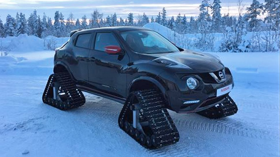 The Nissan Juke Nismo still looks futuristic to the point of wackiness, even if the design has been with us for a few years now. Throw some snow treads on there and it goes from cool to ice cold, baby!