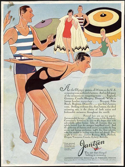 1920s Jantzen Men S Bathing Suit Ad Hombres Vintage Traje De