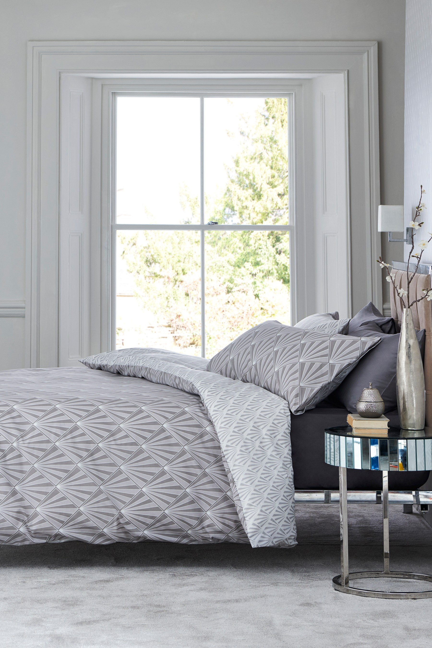 Next Deco Duvet Cover and Pillowcase Set Grey Bed