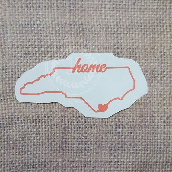 North carolina nc heart over city vinyl decal by jedesignshop