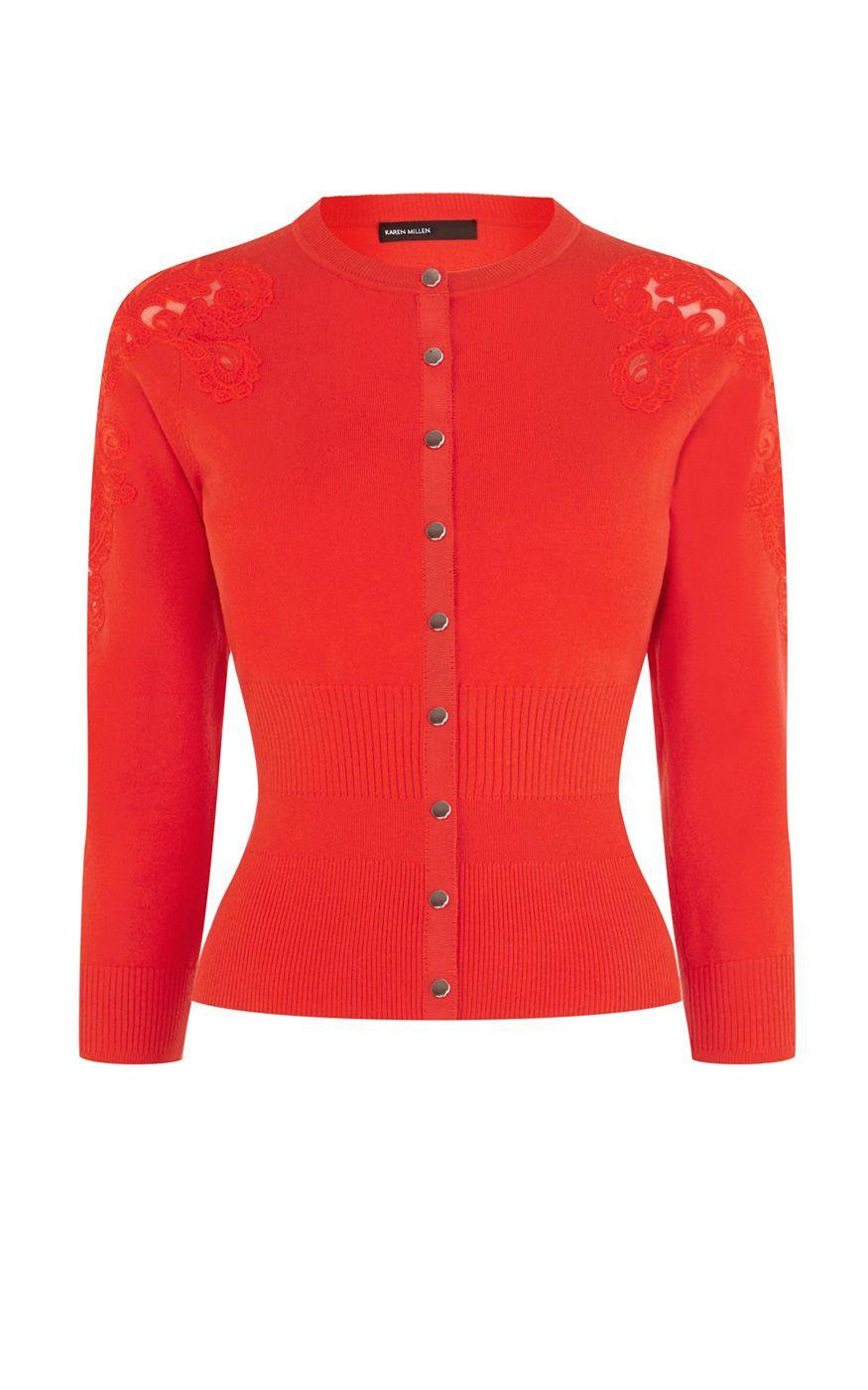 c59dd714d4a Lace insert cardigan | Luxury Women's knitwear | Karen Millen ...