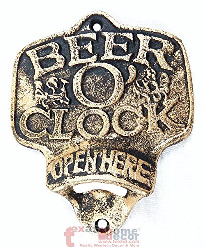 Cast Iron BEER O CLOCK Plaque OPEN HERE Beer Bottle Opene...