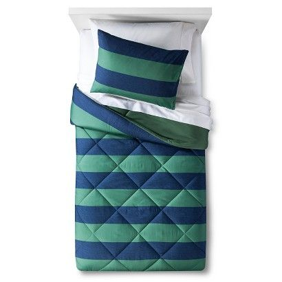 2pc Twin Rugby Stripe Comforter Set Blue/White 2pc - Pillowfort™