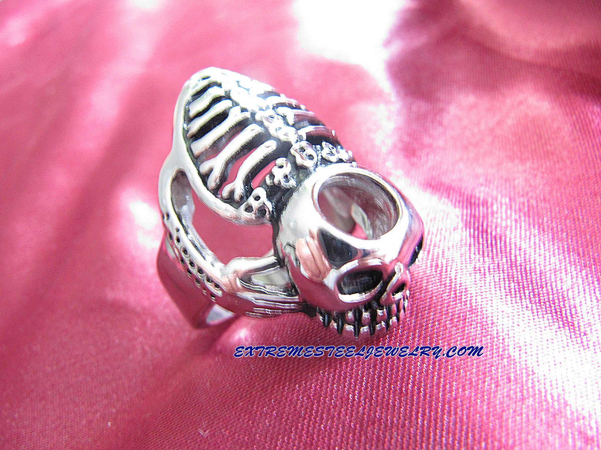 316L Stainless Steel Skull Ring 3D Skeleton Sz 8 - 16 | Products ...