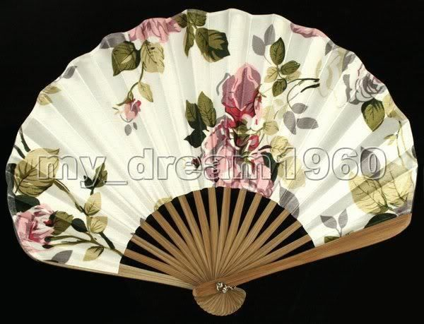 Japanese Bamboo Folding Silk With Flowers HAND FAN Wedding Party Gift New