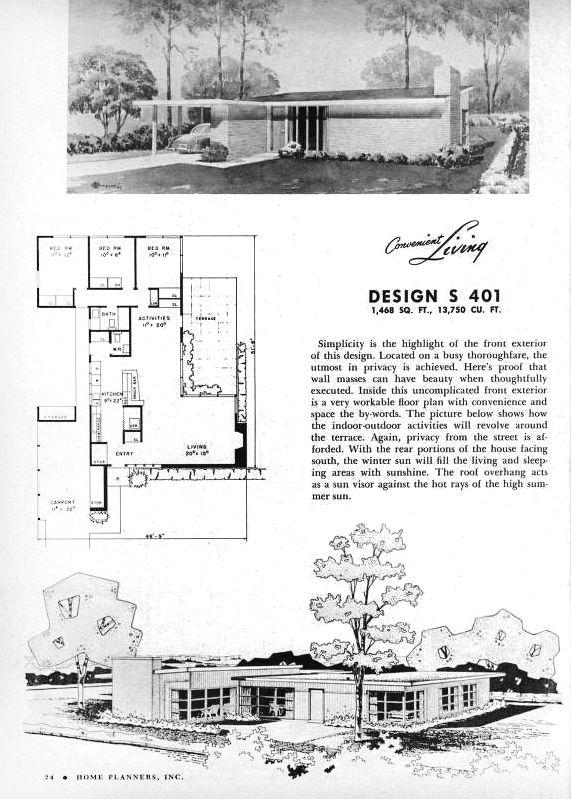 Pin By Neva Warnock On Design Vintage House Plans Modern Floor Plans Mid Century Modern House