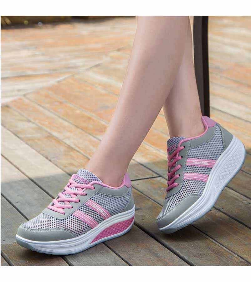 Women S Grey Leather Rocker Sole Shoe Sneakers Stripe Pattern Sewing Thread Design Hollow Out Lace Up Style Casual Leisure Zapatos Bocetos De Moda Moda