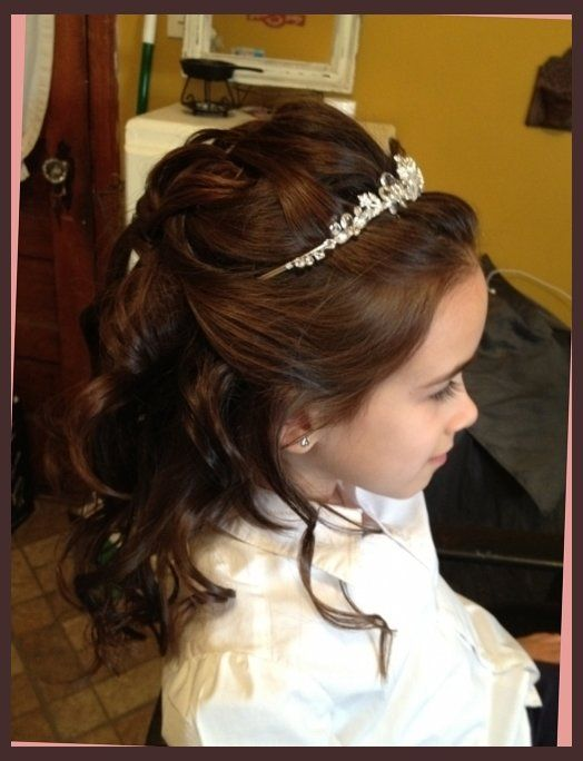 First Communion Hairstyles On Pinterest First Communion Hair Intended For First Communion H Communion Hairstyles First Communion Hairstyles Long Hair Styles