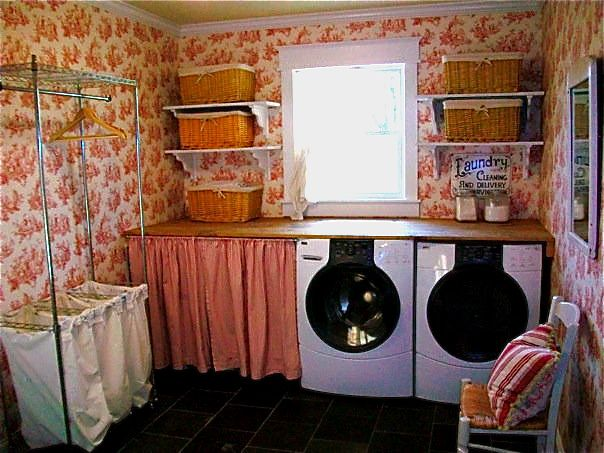 Red Toile Laundry Room