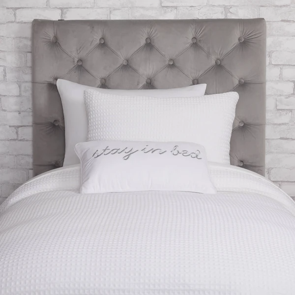 Grey Velvet Twin Twin Xl Powered Tufted Headboard In 2020 Tufted Headboard Headboard Dorm Room Headboards