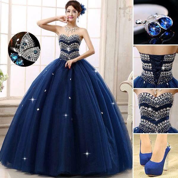 Vestido azul marino quinceanera