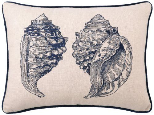 D.L Rhein Embroidered Linen Pillow, Double Conch, Blue, 14 by 20-Inch