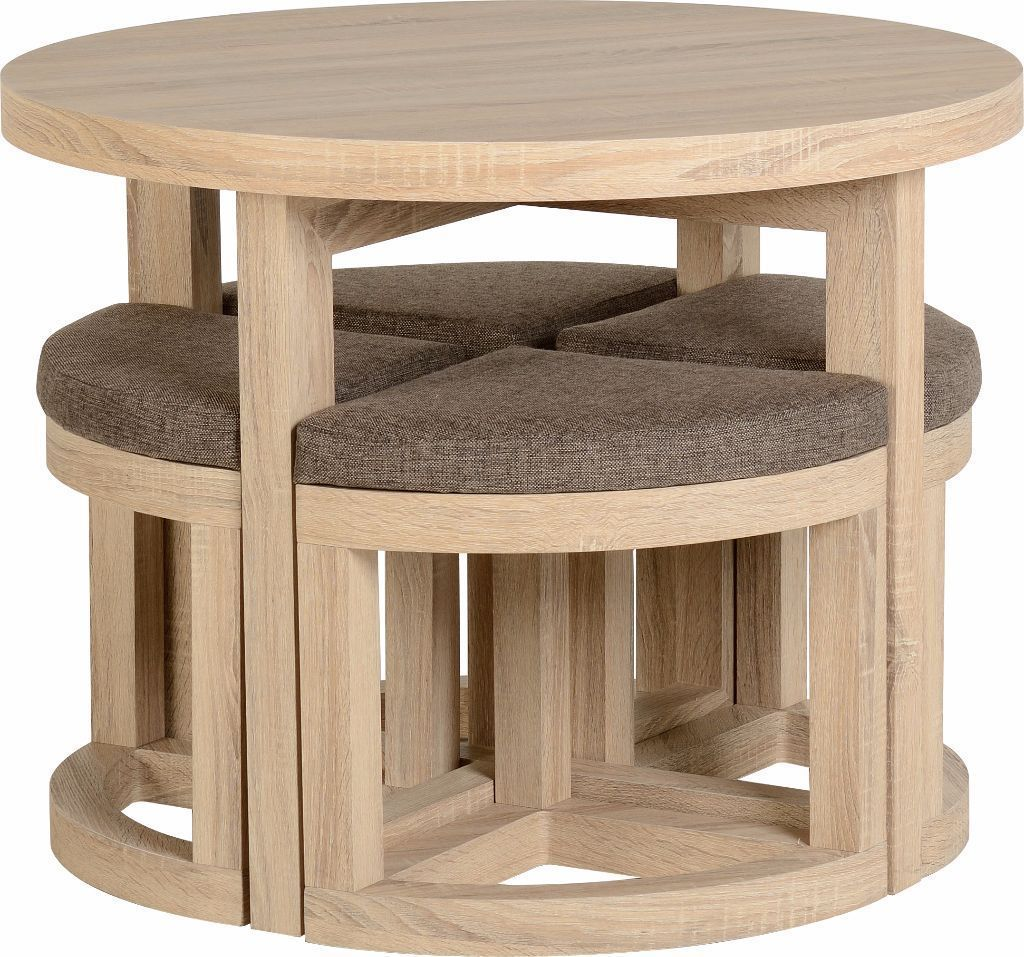 Round Dining Table With 4 Chairs Sonoma Oak Effect Round Wooden