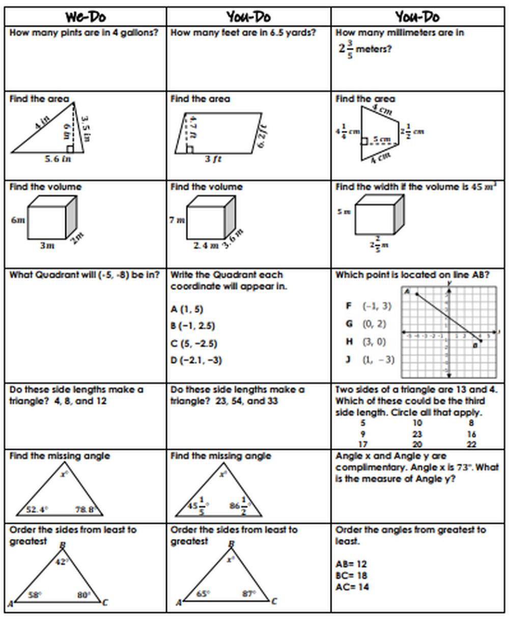 6th Grade Geometry Review WeDo, YouDo Guided Class