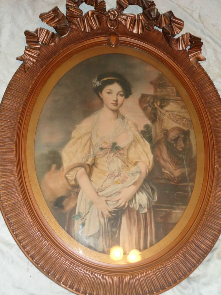 ANTIQUE VICTORIAN FRENCH 19thC RIBBON BOW CREST FRAME LADY PORTRAIT PRINT LARGE #French