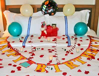 Surprise birthday celebration surprise birthday for Bed decoration anniversary