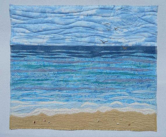 Beach Ocean Seascape Waves Seashells Sea Birds Art Quilt