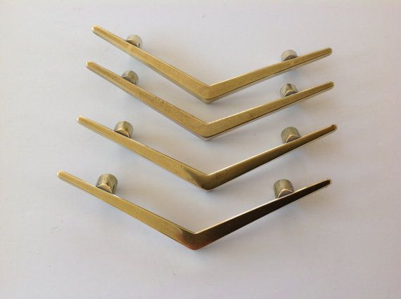 4 Vintage Brass Chevron or Boomerang V Drawer or Cabinet by MCMLX