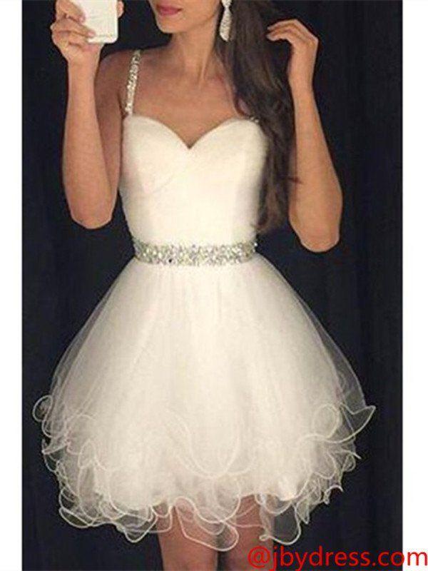 Custom Made Sweetheart Neck Sleeveless White Short Prom Dresses ...