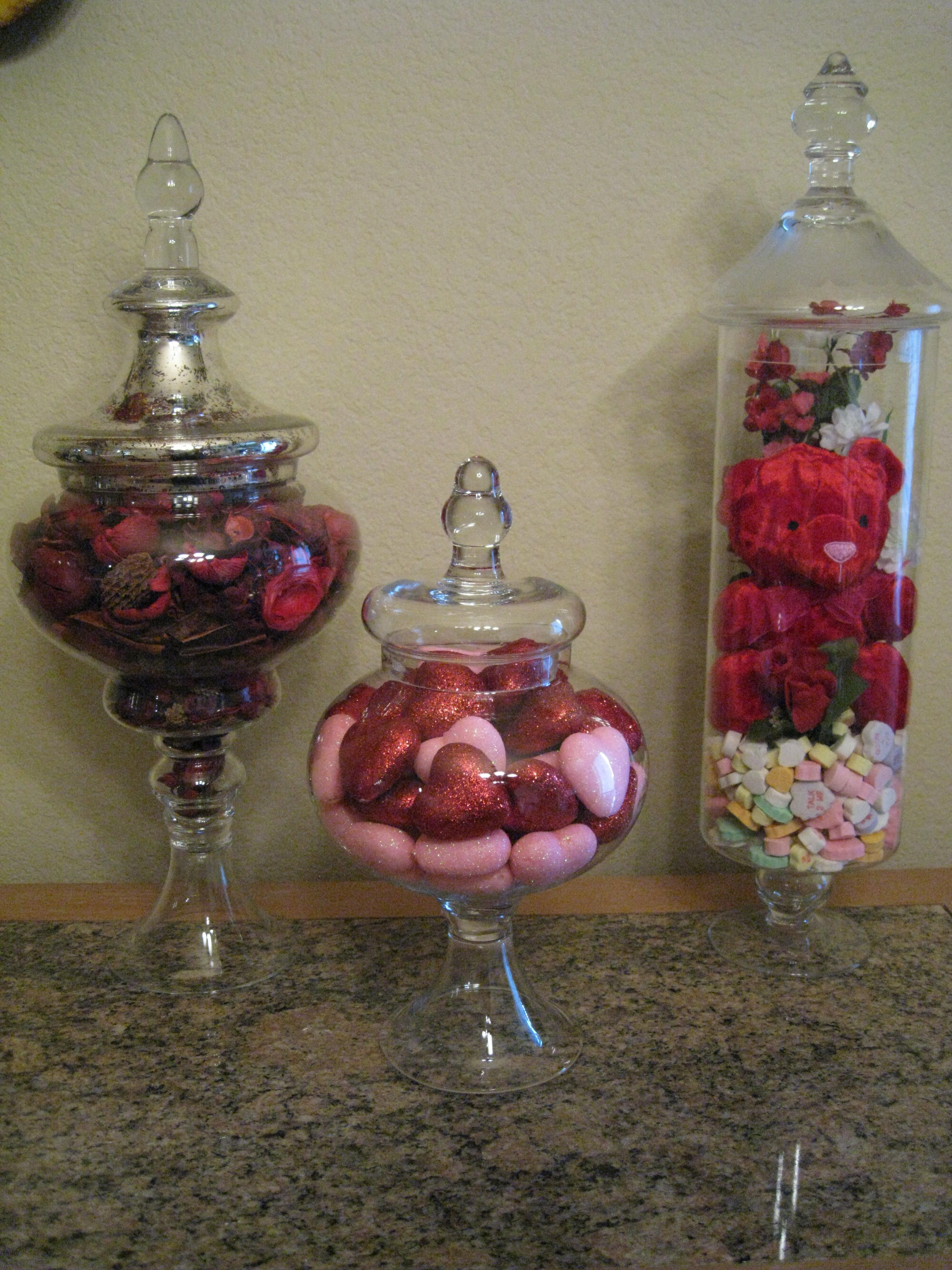 Valentine S Day Apothecary Jars Diy Valentines Decorations Valentine Centerpieces Valentines Day Decorations