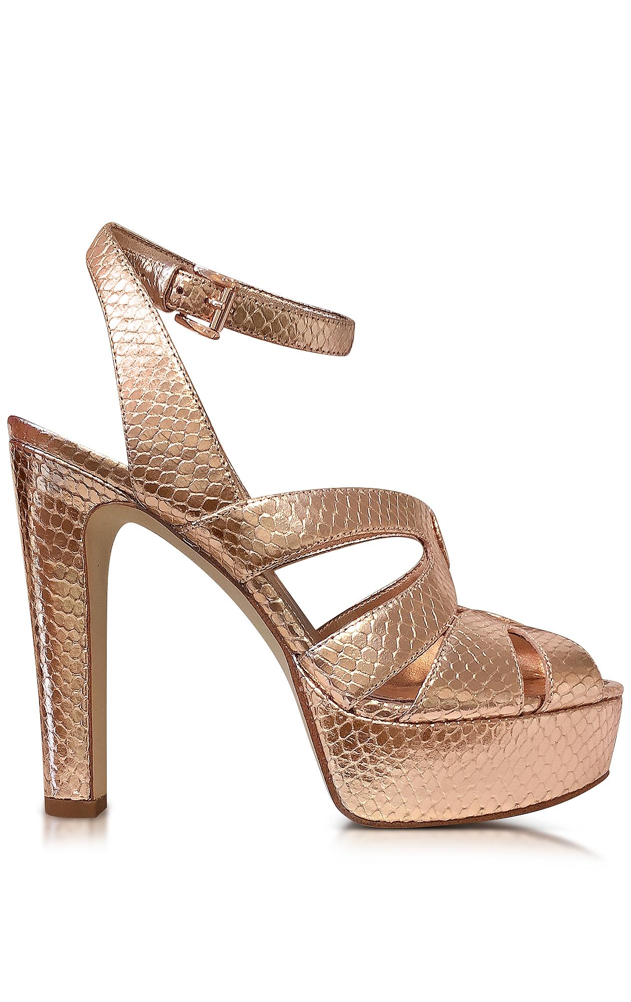 be9bceb69e22 MICHAEL KORS Winona Rose Gold Reptile Printed Leather Platform Sandal
