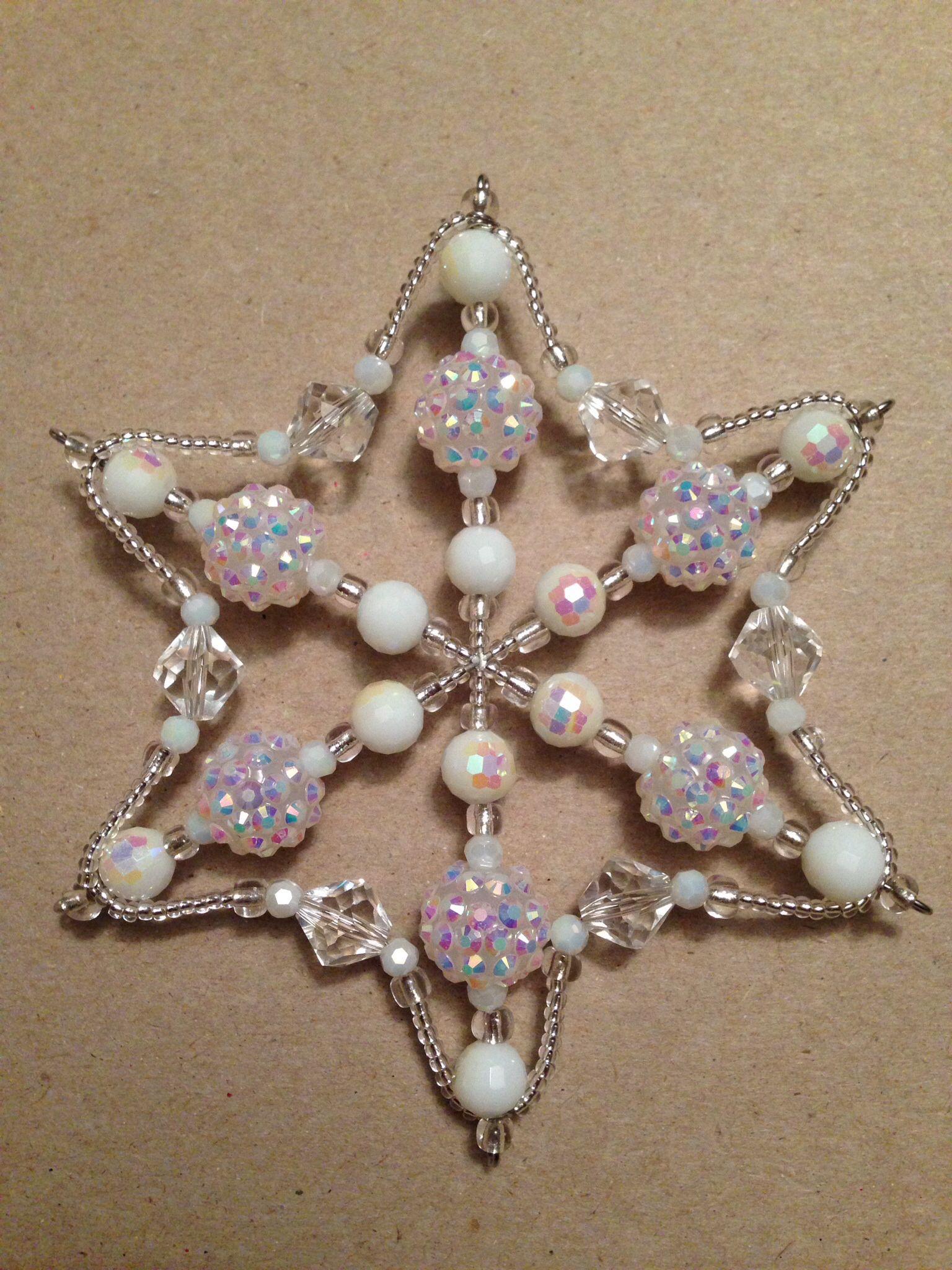 Bead Snowflake Ornament Beaded Christmas Ornaments Diy
