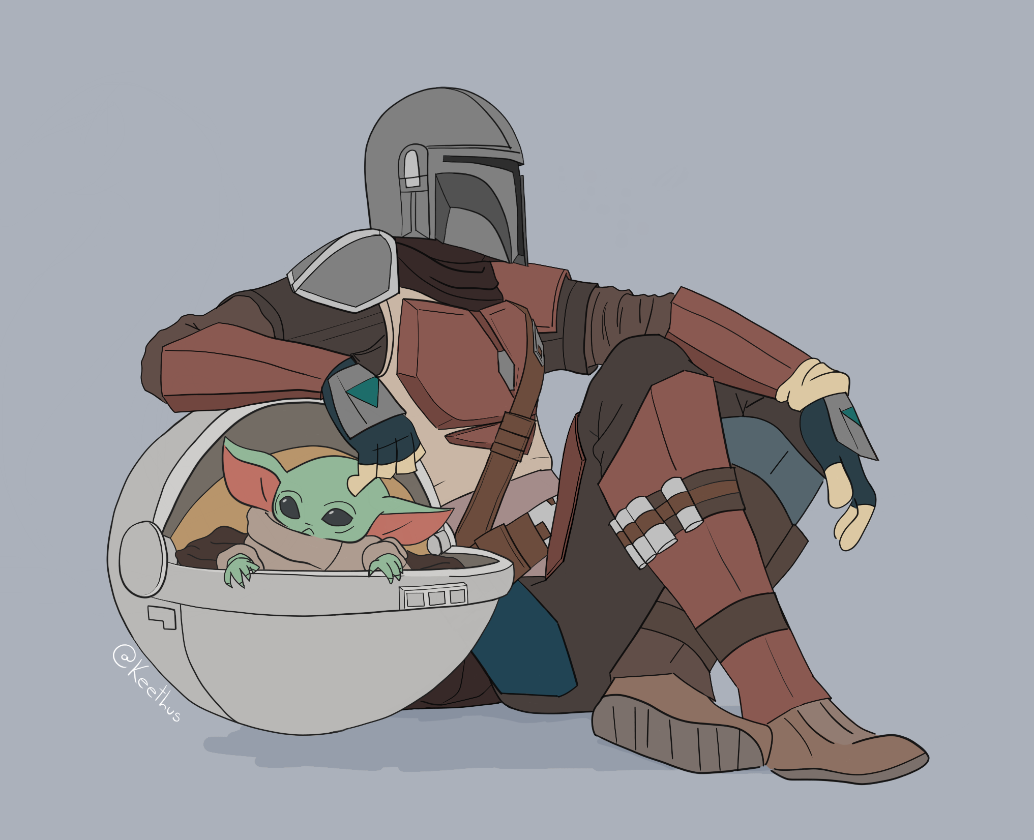 Relaxing Mando Baby Yoda In 2020 Star Wars Memes Star Wars Fandom Star Wars Art