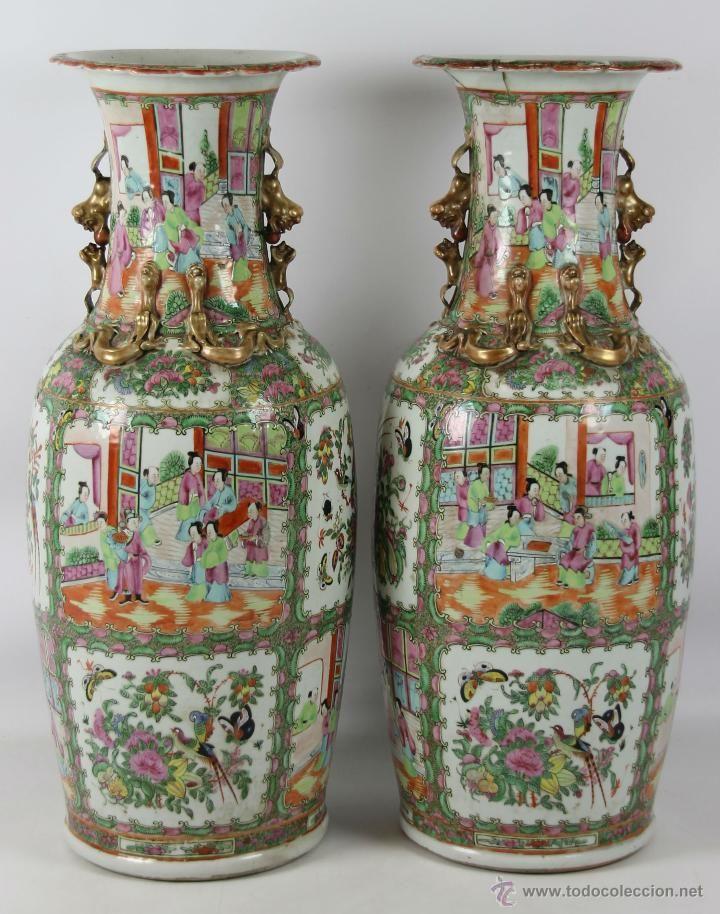 Antigua pareja de jarrones chinos porcelana canton - Jarrones de ceramica ...