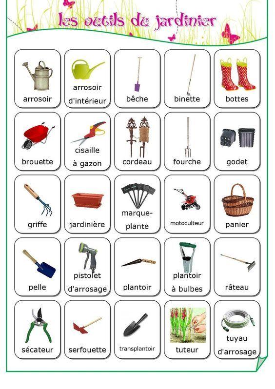 Vocabulaire les outils du jardinier fiches de for Le jardin voyageur maternelle