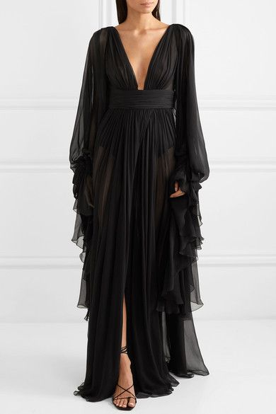 SAINT LAURENT – Ruffled tiered silk-chiffon gown