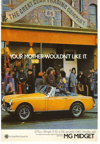 MG Midget Vintage Magazine Advertisement | Mg midget, Car