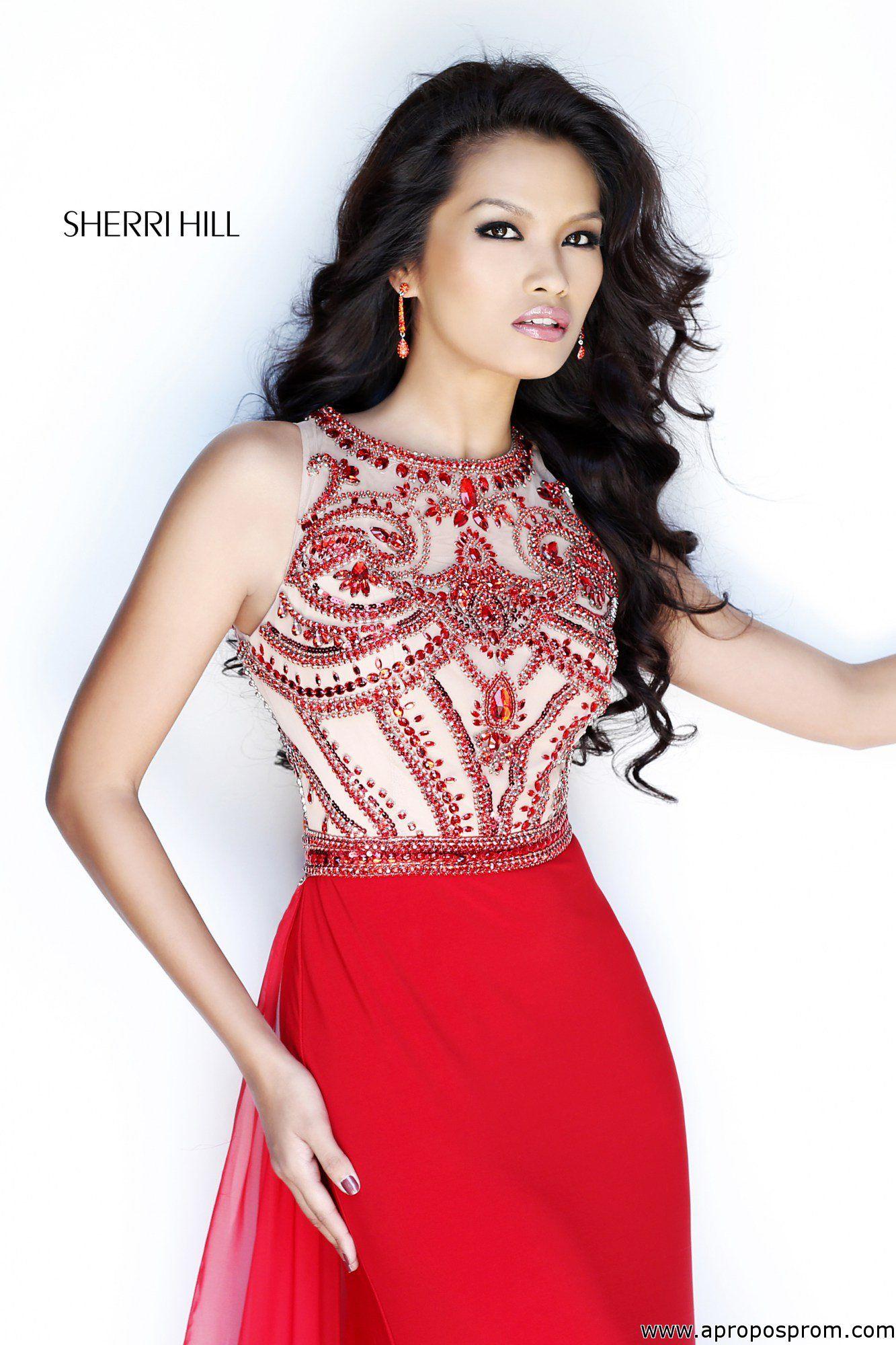 Stunning beaded red Sherri Hill prom dress #SherriHillProm2014 at ...
