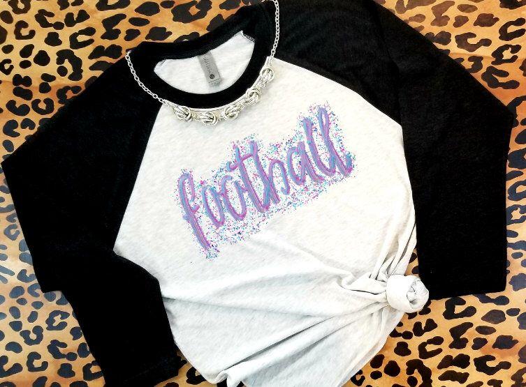 Confetti Glitter Watercolor Football Raglan Football Shirt