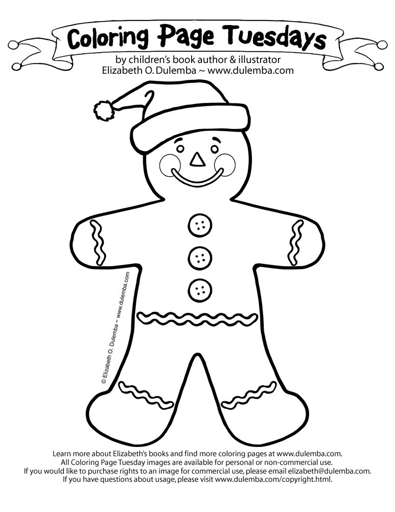 santa hat gingerbread man coloring page | christmas | Pinterest ...