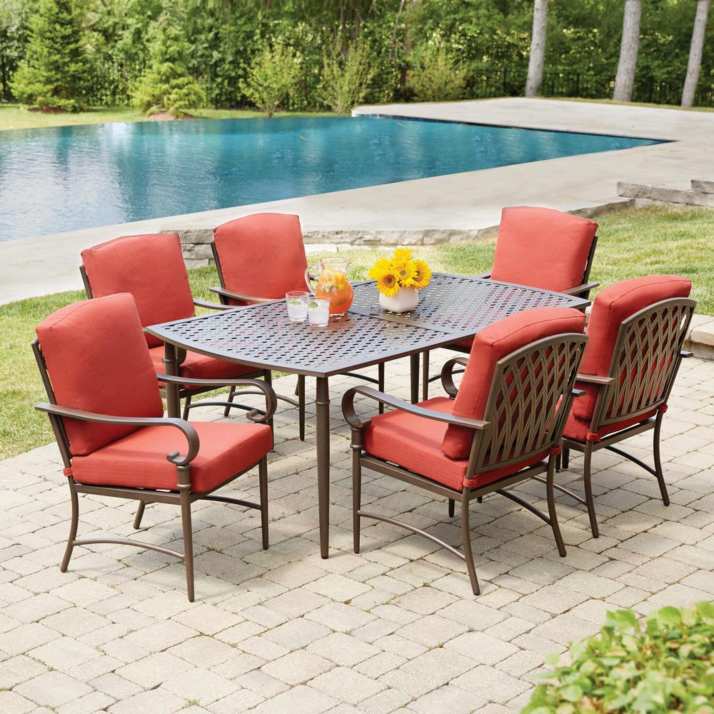 Hampton Bay Oak Cliff 7 Piece Metal Outdoor Dining Set With Chili Cushions 176 411 7d V2 Patio Dining Furniture Outdoor Patio Furniture Sets Patio Dining Set
